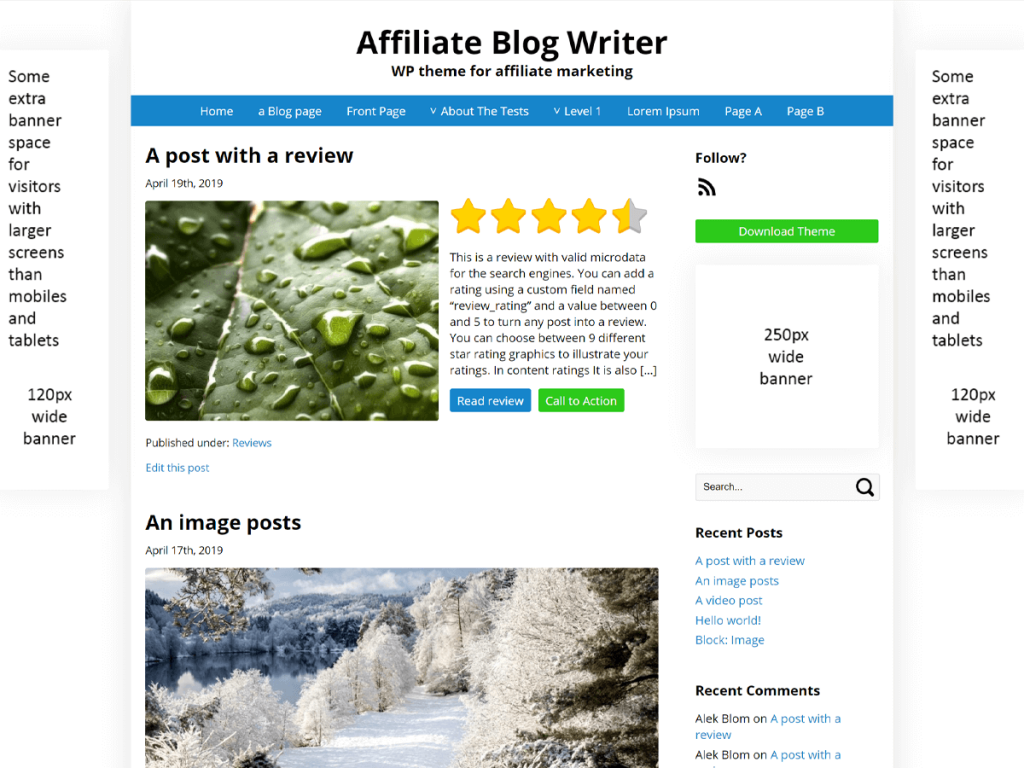 Affiliate Blog Writer theme screenshot